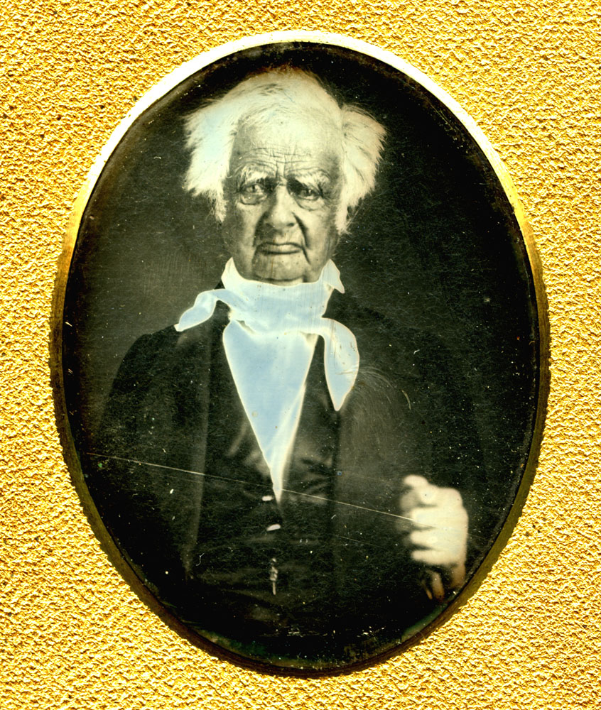 Simeon Hicks, daguerreotype.                                                              Simeon Hicks was a Minuteman from Rehoboth, Massachusetts who drilled every Saturday in the year leading up to the war. When he heard the alarm the day after the Battles of Lexington and Concord, the sparks that set off the Revolution, he immediately joined thousands of other New Englanders in sealing off the enemy garrison in Boston. He served several short enlistments and fought in the Battle of Bennington, August 16, 1777. After the war Hicks lived in Sunderland, Vermont as a celebrity. He was the last survivor of the Battle of Bennington.