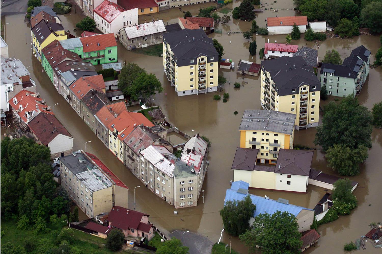 June 4, 2013. An aerial view shows the flooded city of Kralupy nad Vltavou, Czech Republic.