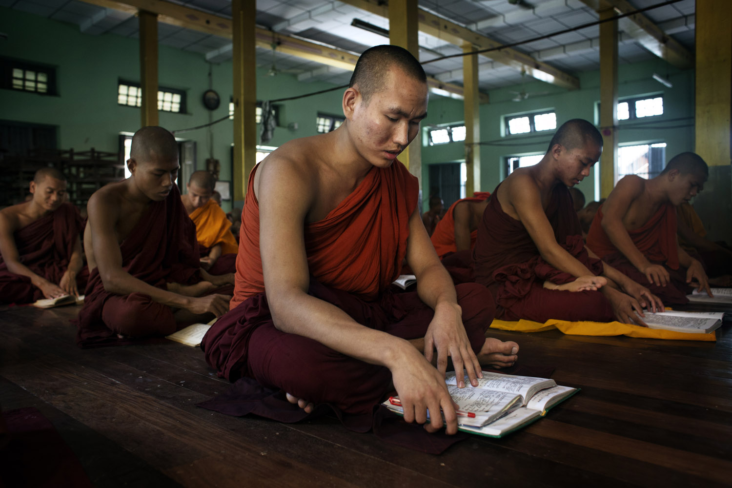 Students of Wirathu study at the New Maesoeyin Monastery in Mandalay.