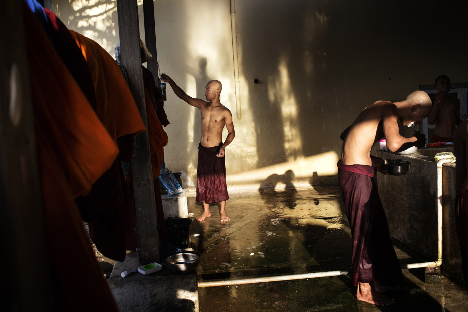 Monks wash at the New Maesoeyin Monastery.