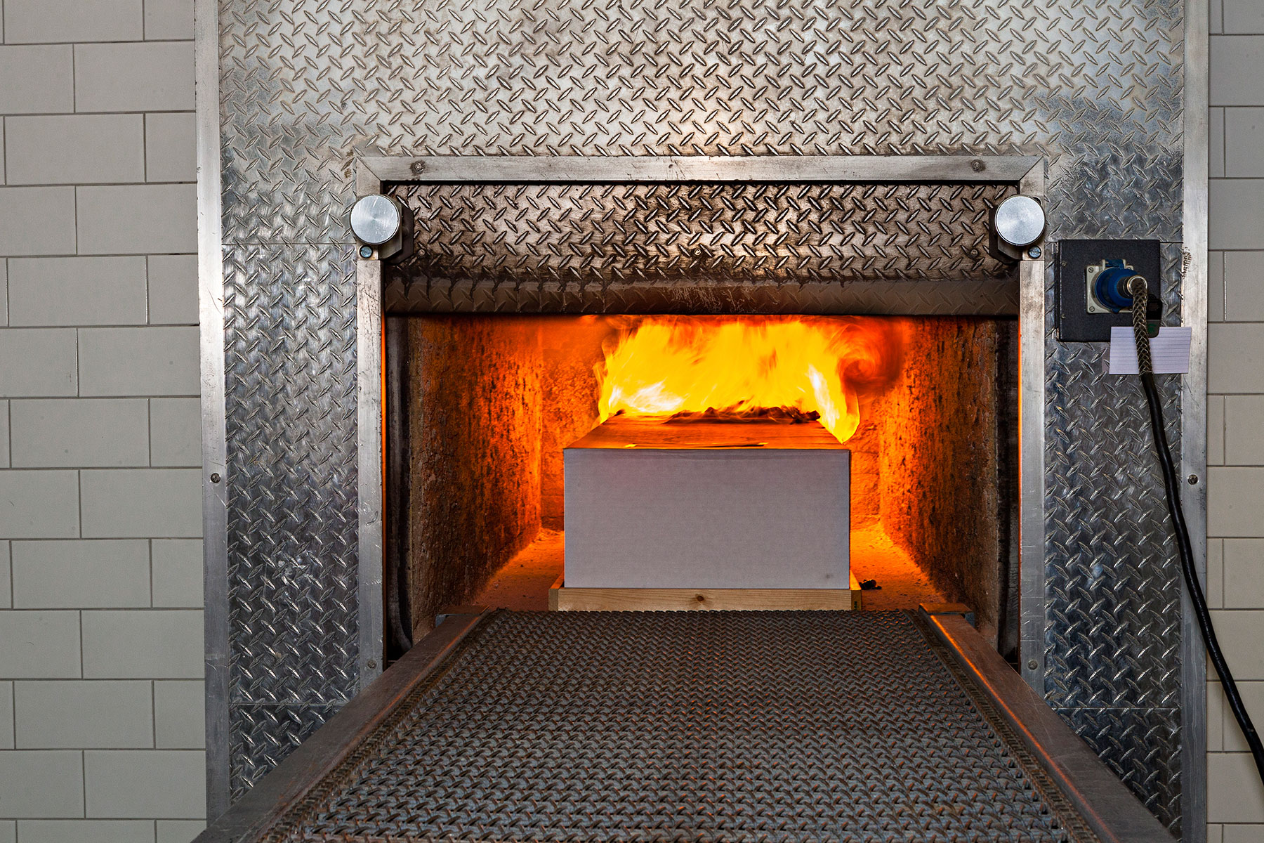 A body in the fire-based crematory oven of Lakewood Cemetery.