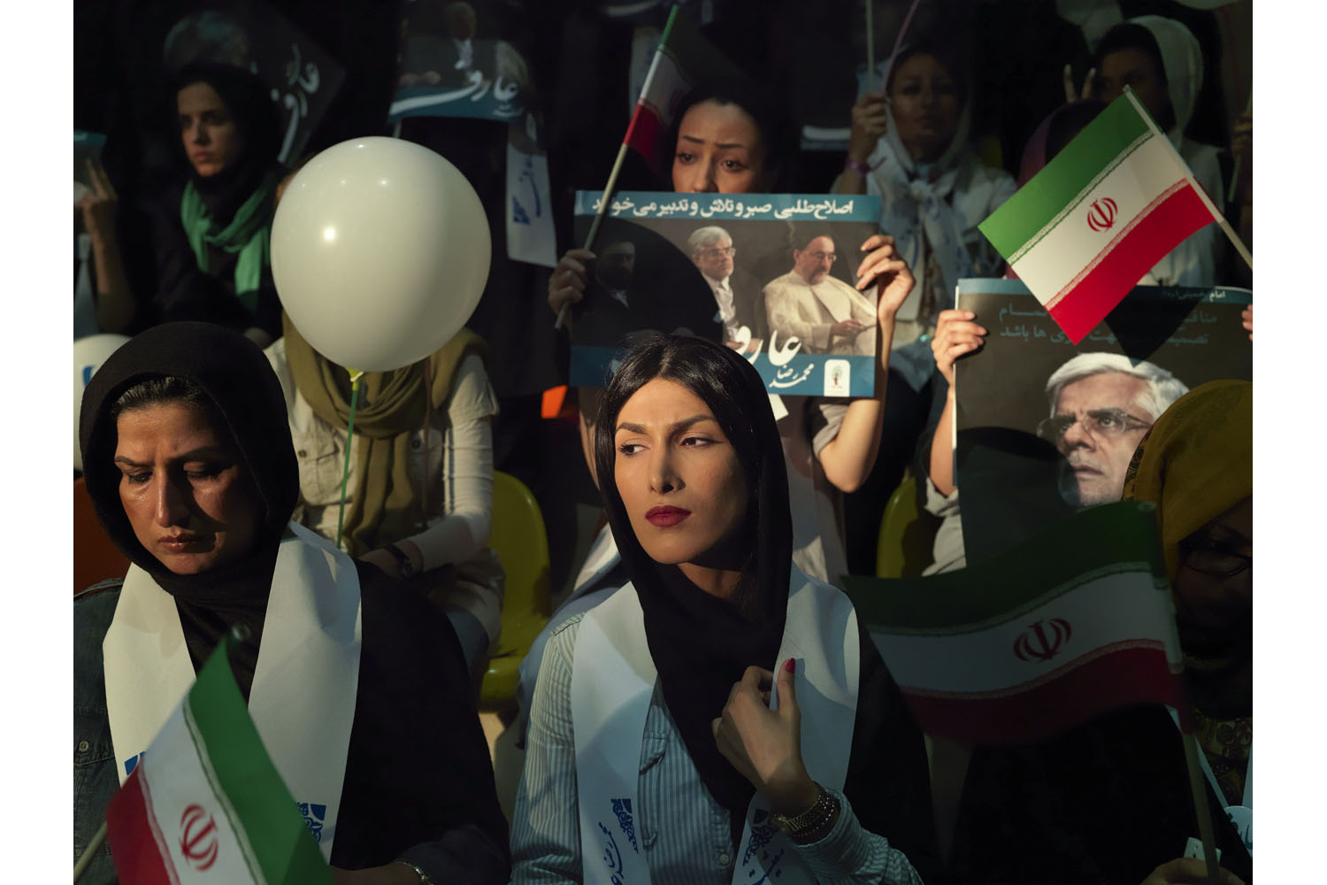 Yasaman Karimi, 23, at a rally in Tehran for Mohammed Reza Aref.
