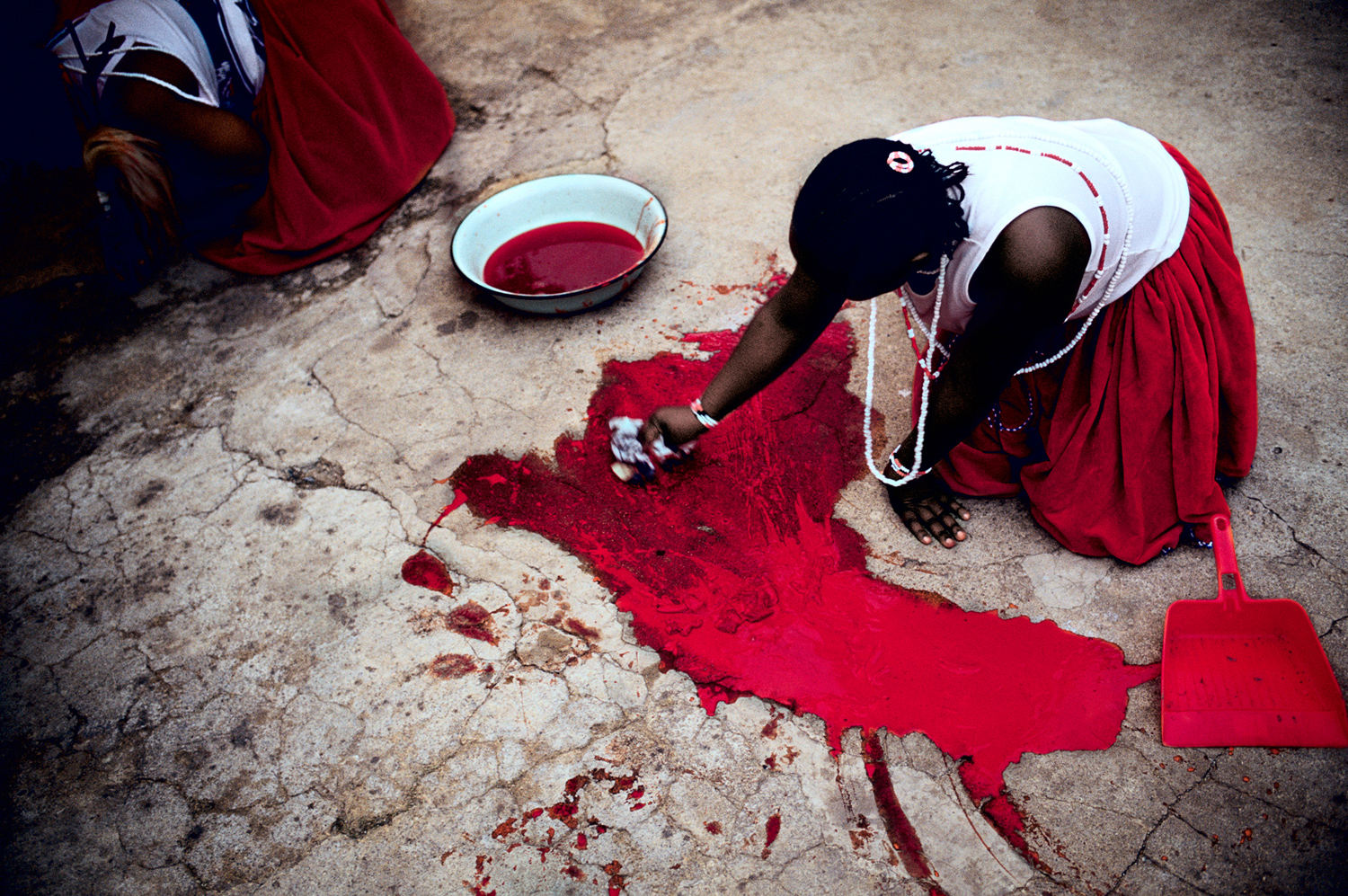 A woman cleans up the blood of a newly slaughtered goat, May 2005. She is graduating from a Sangoma ceremony in Soweto, South Africa. Many black South Africans consult a Sangoma, or traditional healer, who communicates with the ancestral spirits for guidance on treating patients and often prescribes herbal remedies.