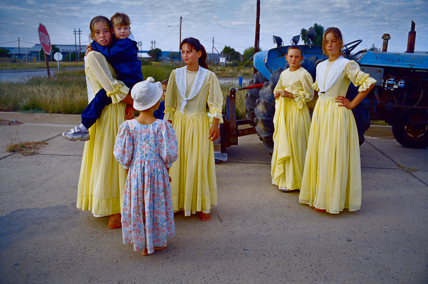 Afrikaner children dressed in traditional clothing at a farm show in Orania, April 2004. The annual, three-day event attracts visitors from neighboring villages and cities.