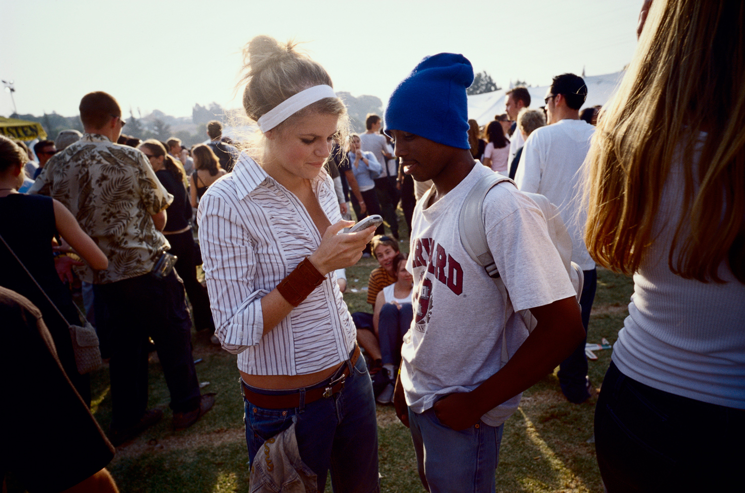 Unidentified youths socialize at a  festival in Auckland Park a suburb in Johannesburg, South Africa, May 2002.