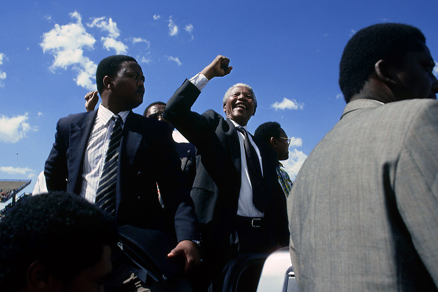 Nelson Mandela, surrounded by his ever-loyal bodyguards, campaigns in the northern Transvaal. 1994.