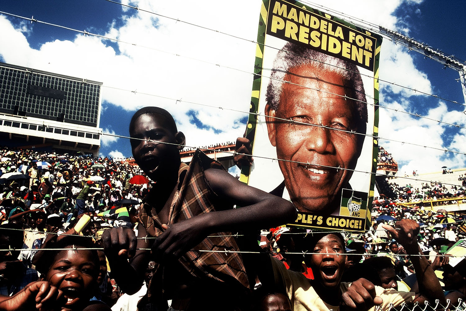 Following Nelson Mandela's release from prison, he circulated through the country. Everywhere he went, millions of South Africans came out to celebrate their leader and to support him in his quest to become the first President of a democratic South Africa. 1993.