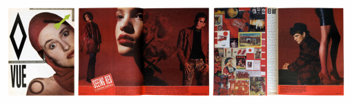 Cover and spreads from the September 1986 issue of Vue. Photographs by Amy Arbus.
