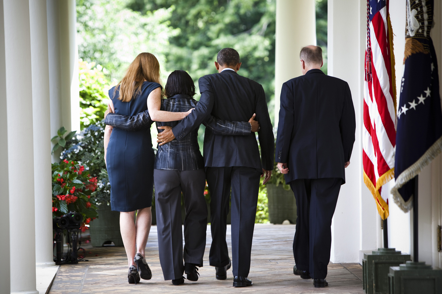 June 5, 2013. President Barack Obama with officials after an announcement in the Rose Garden of the White House that Samantha Powers would replace Susan Rice as the American ambassador to the United Nations, and that Rice would replace Tom Donilon, who is resigning, as national security adviser. From left: Powers, Rice, Obama, and Donilon.