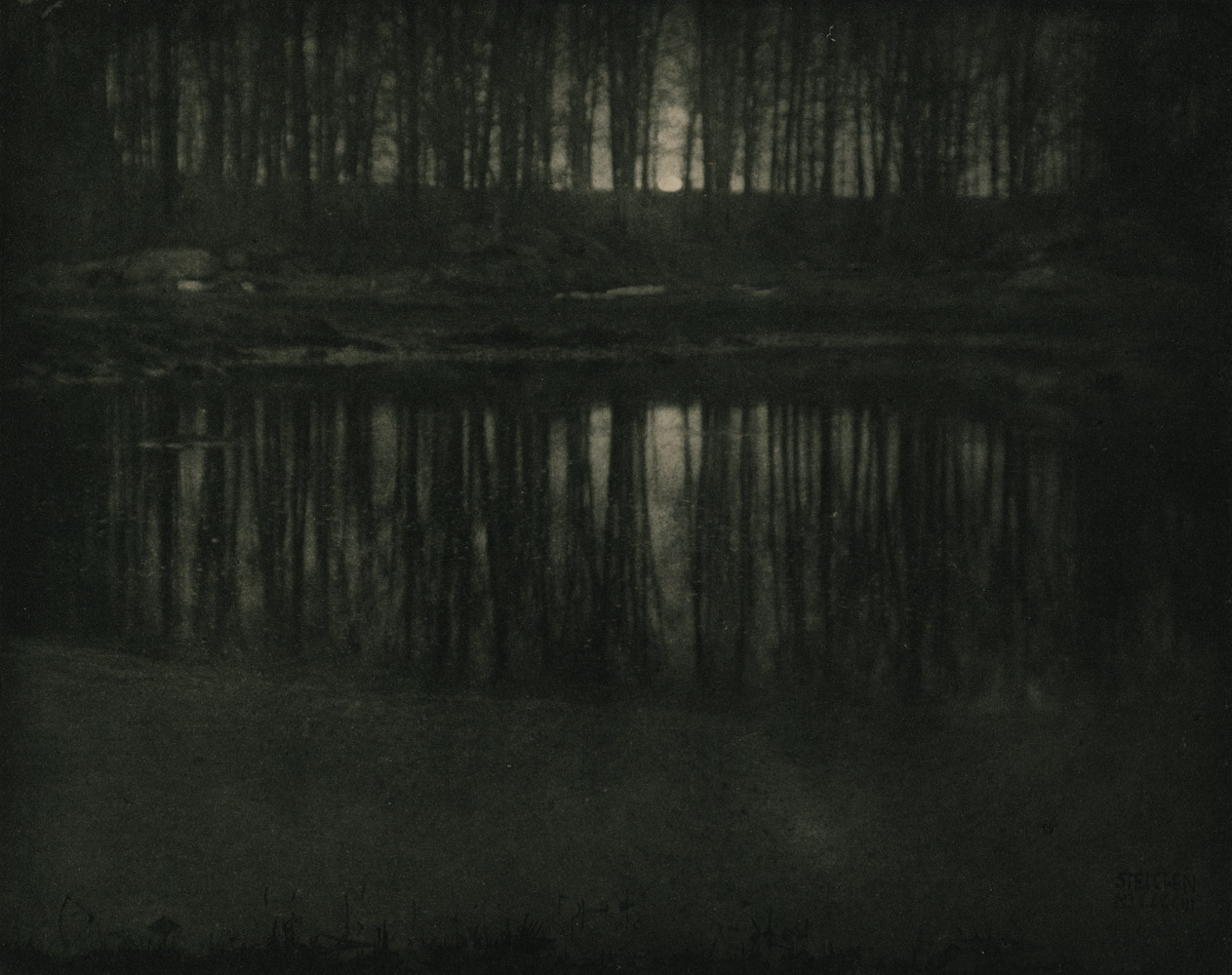"""Moonlight: The Pond,  1903. In the 1960s, the photographer began destroying all the negatives to work he deemed  rejects.  The seminal image above was not likely one of them.  """"He tried burning them and burying them in the swamp. Finally, by the time I arrived,"""" his wife Joanna Steichen writes, """"they were being tied up in bundles, taken out to the middle of the pond and dumped; the water washed away the emulsion."""""""