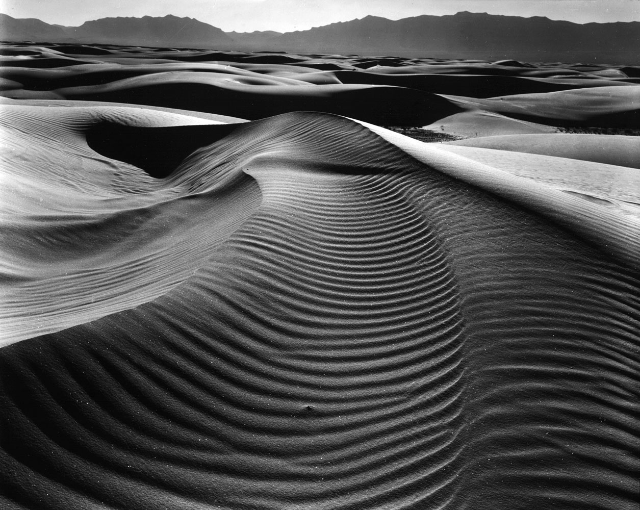 Dunes and Mountains,  White Sands, New Mexico, 1945. On his 80th birthday, the photographer burned all his life's negatives in front of friends and family at his home in California.  The prints are posterity, not the negatives,  he said.  I don't want students and teachers to print my work.