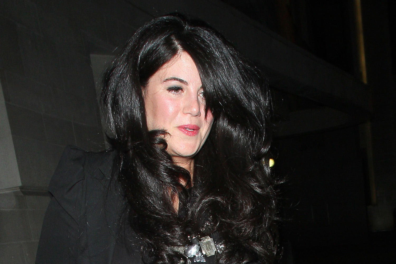 Monica Lewinsky at the Downtown Mayfair restaurant for Heather Kerzner's birthday celebration on March 19, 2013 in London.