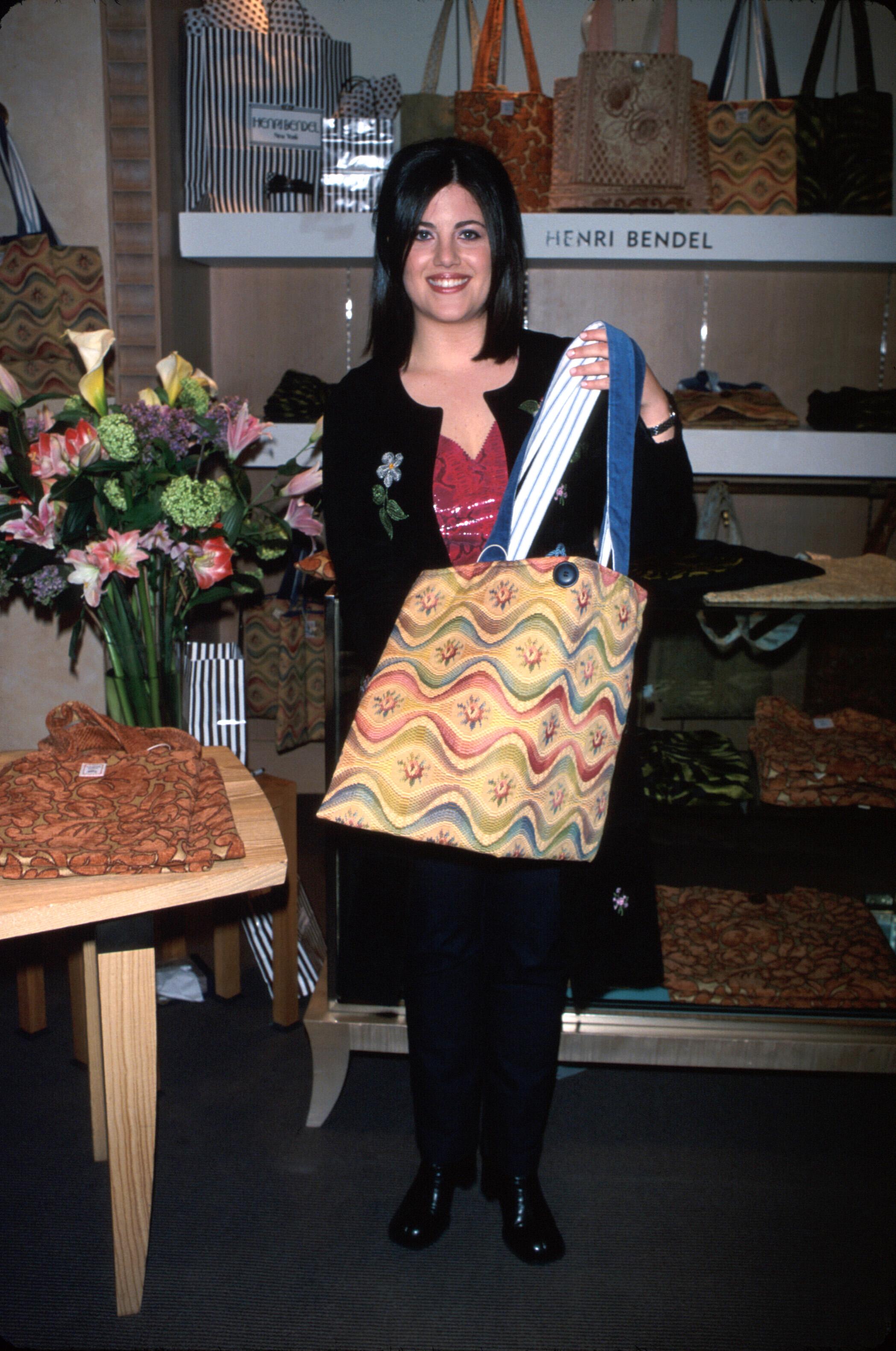 Monica Lewinsky promotes her handbag line.