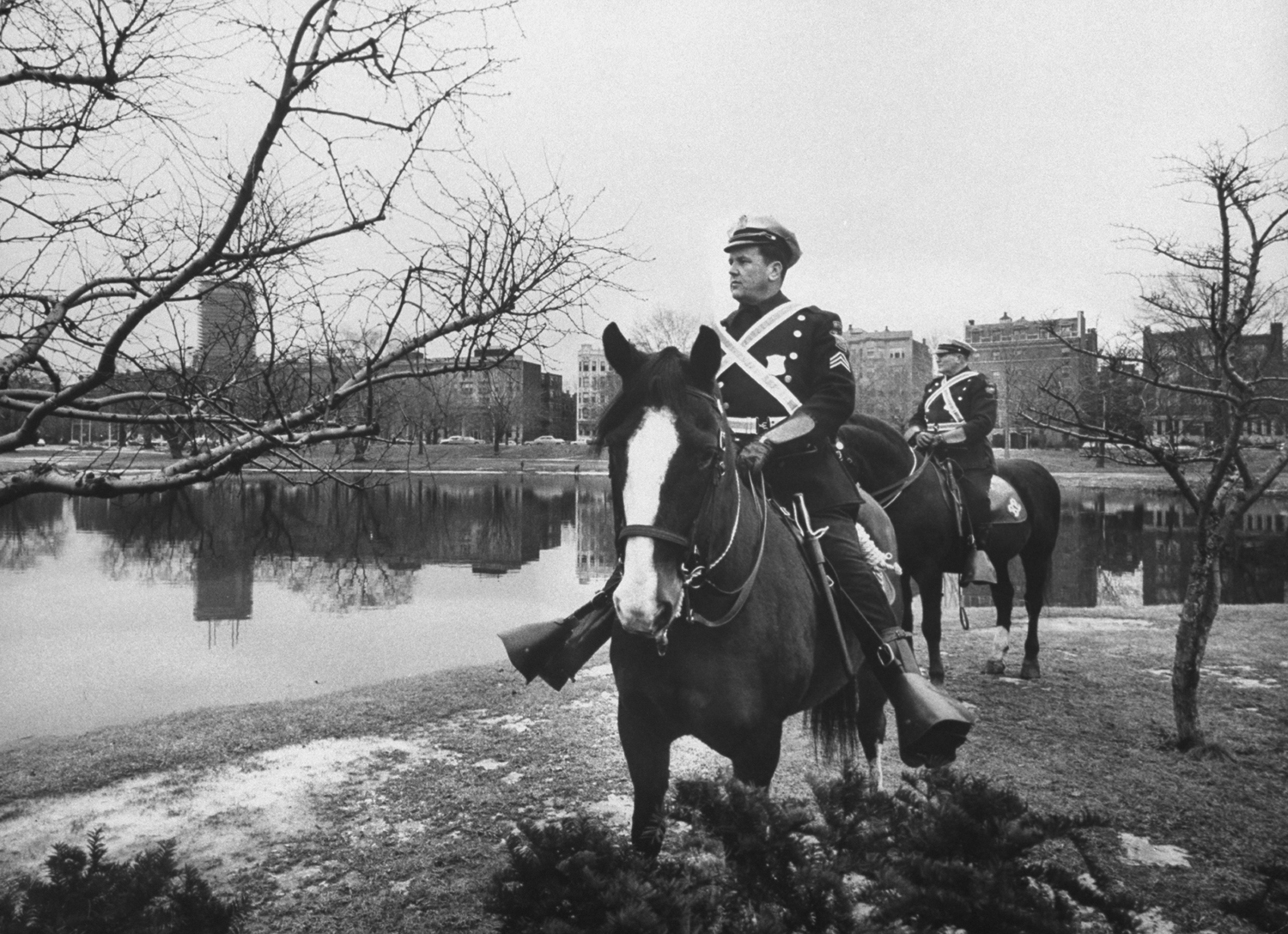 <strong>Not published in LIFE.</strong> Boston mounted police on patrol in area of stranglings, 1963.