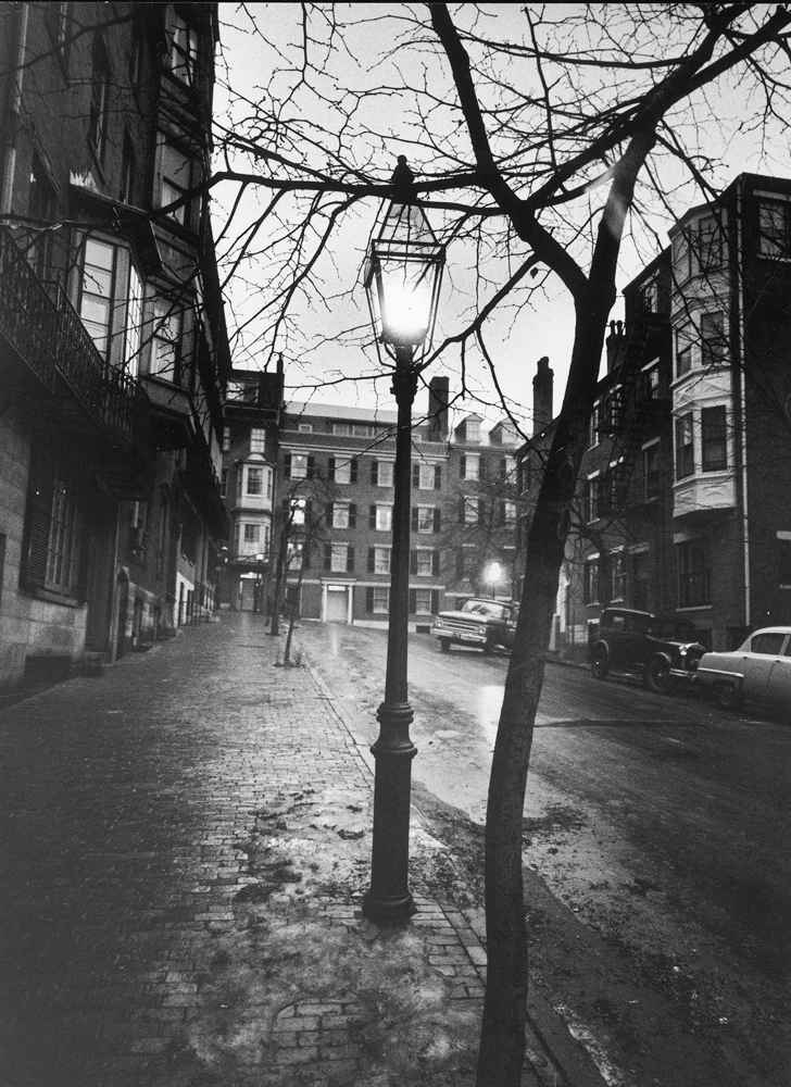 <strong>Not published in LIFE.</strong> A rainy Beacon Hill street at dusk during the era of the Boston stranglings, 1963.