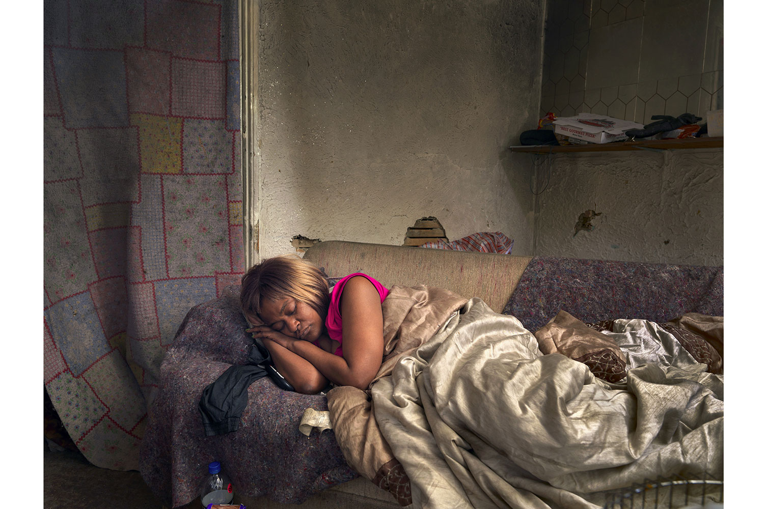 Diane Sleeping, Poletown, Detroit, 2013                                                              Diane was homeless and staying at a friend's house temporarily.