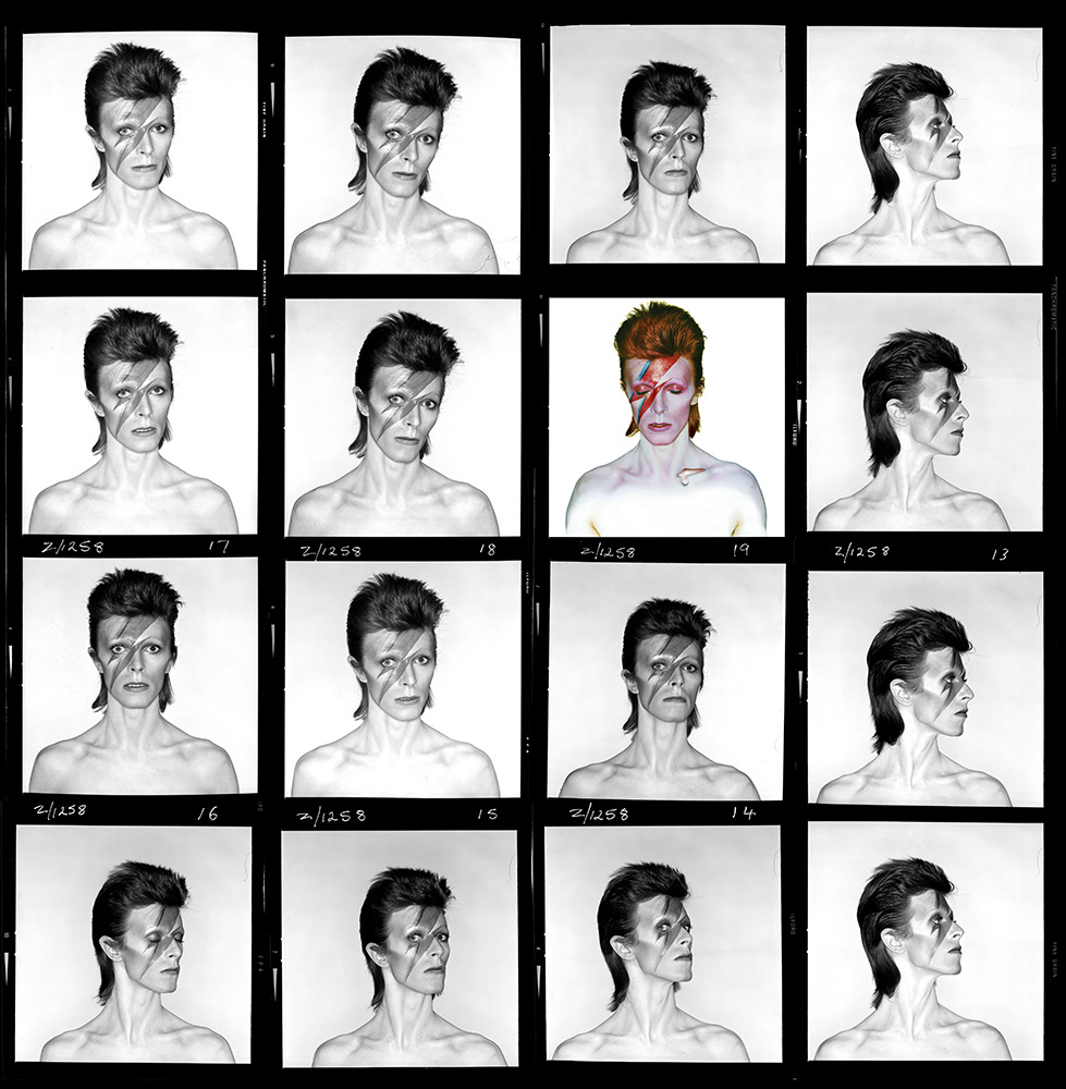 """The contact sheet from the cover shoot of David Bowie's 1973 album Aladdin Sane. In 1979, the photographer put all of his negatives, including those from this series, in a dustbin and set them on fire in the garden of his studio. Unfortunately, """"negatives don't burn easily,"""" Duffy said, """"they make a hell of a lot of smoke."""" A city official caught sight of this and convinced him to put the fire out. Much of the archive remained intact."""