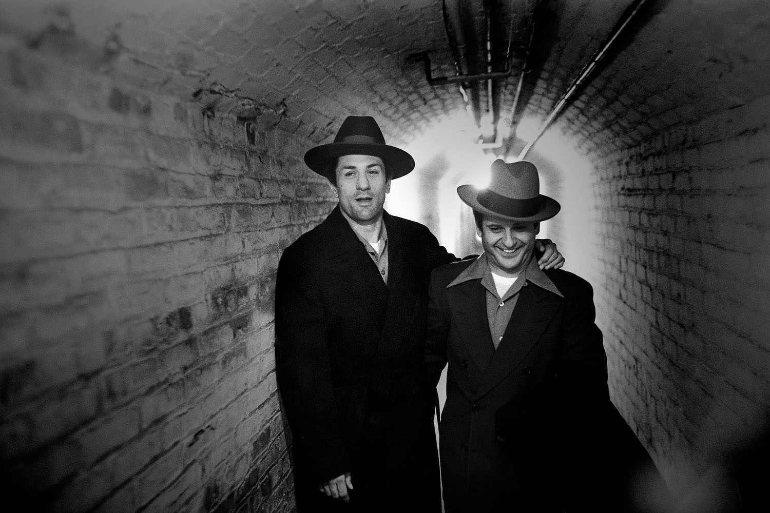 De Niro with Pesci in a tunnel at the 14th Regiment Armory.