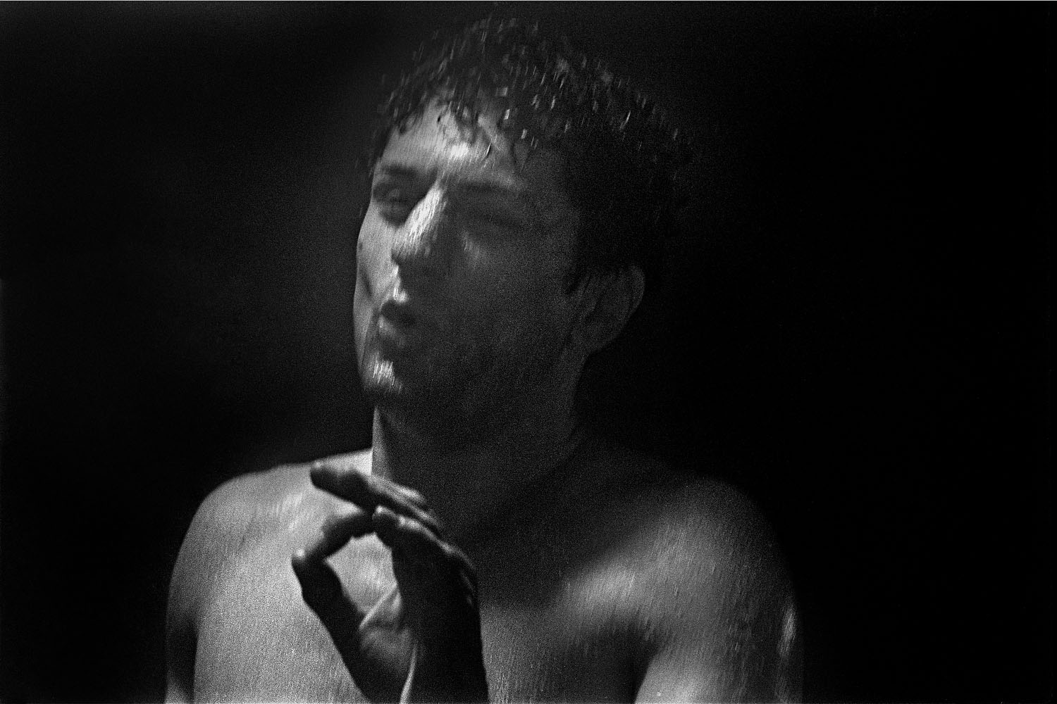 In the sauna, a scene where LaMotta is trying to lose weight before a fight.