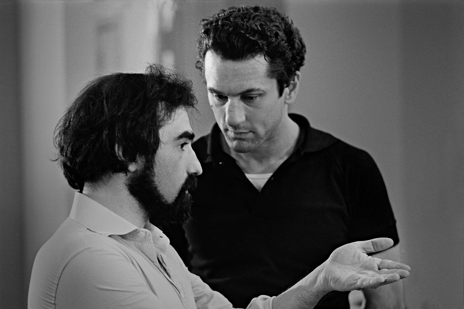 On set, with Martin Scorsese giving direction.