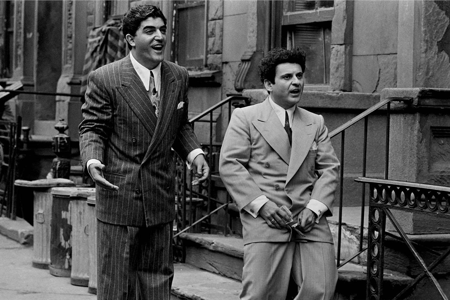 Frank Vincent, as Salvy, with Pesci on 49th Street in New York.
