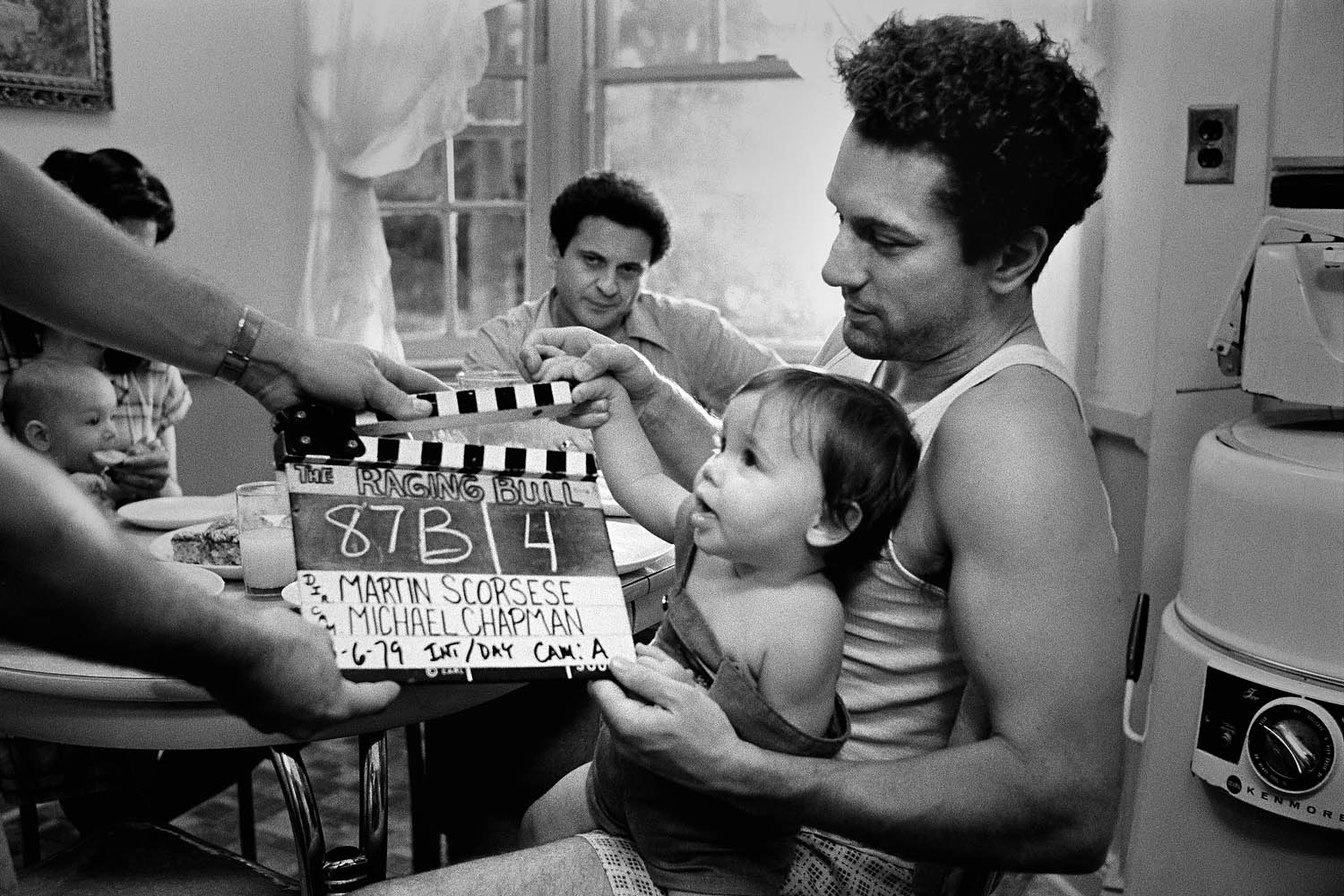 Slate photo, shot in the Bronx, with Joe Pesci, who plays LaMotta's bother Joey, in the background.