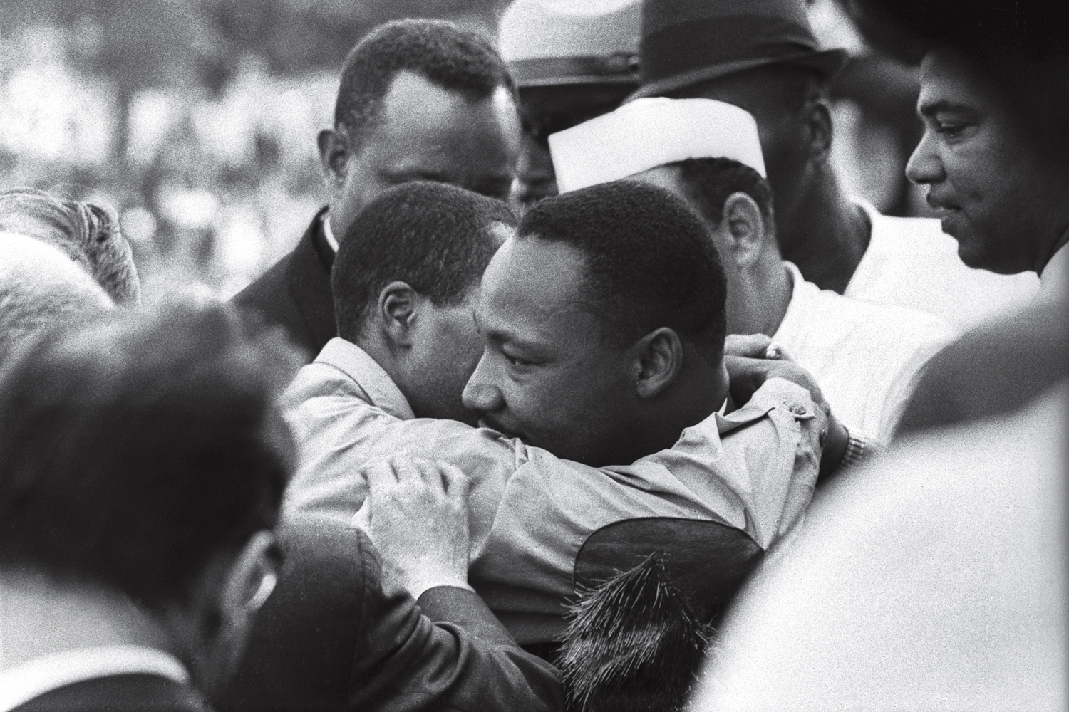 Martin Luther King Jr. is congratulated immediately after delivering his famed  I Have A Dream  speech during the March on Washington, Aug. 28, 1963.