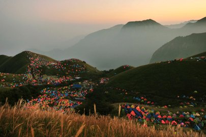 Numerous tents are seen during the 2013 International I Camping Festival in Mount Wugongshan of Pingxiang, Jiangxi province