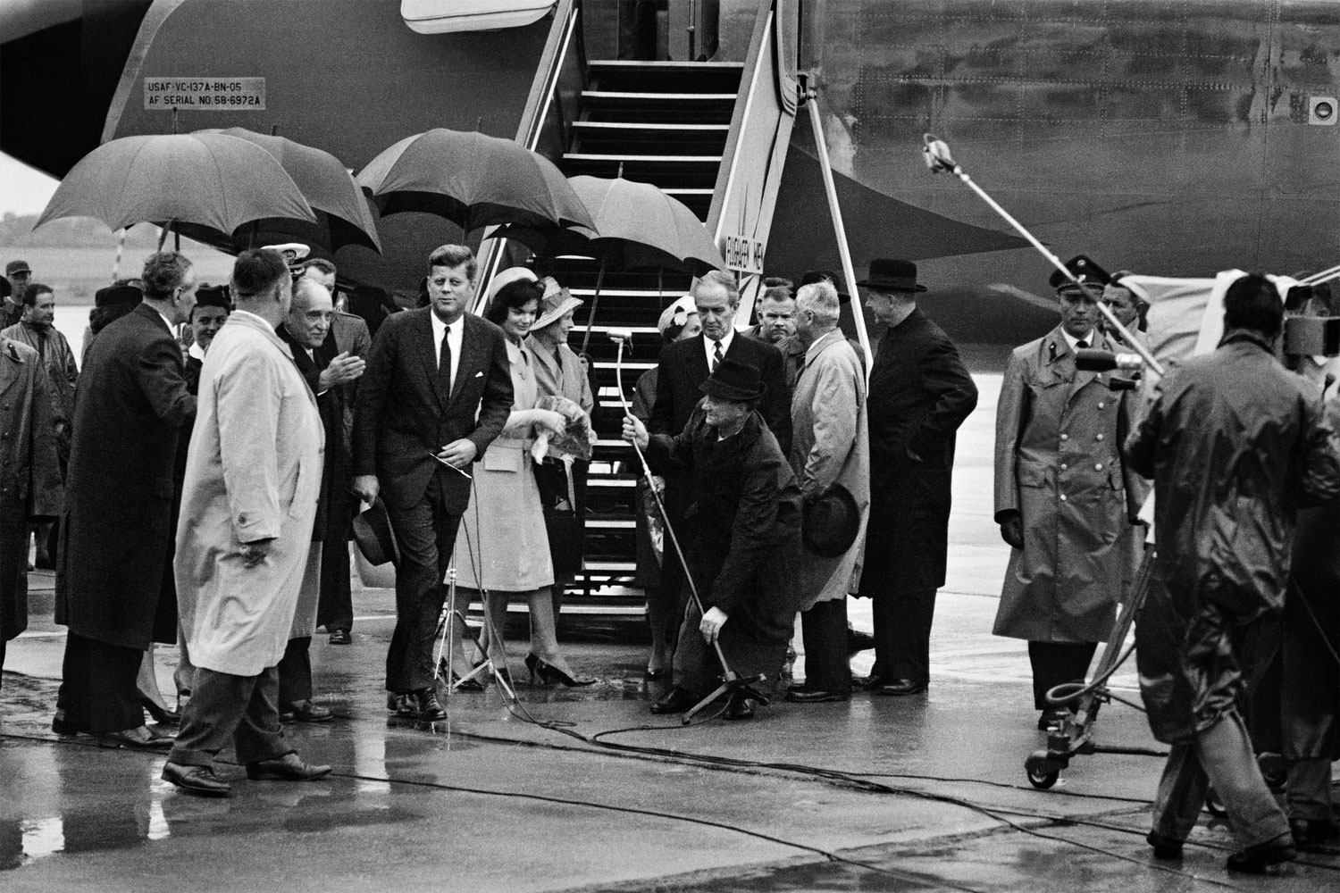 President John F. Kennedy, and Jacqueline Kennedy arrive in Vienna, Austria on Air Force One, June, 1961.