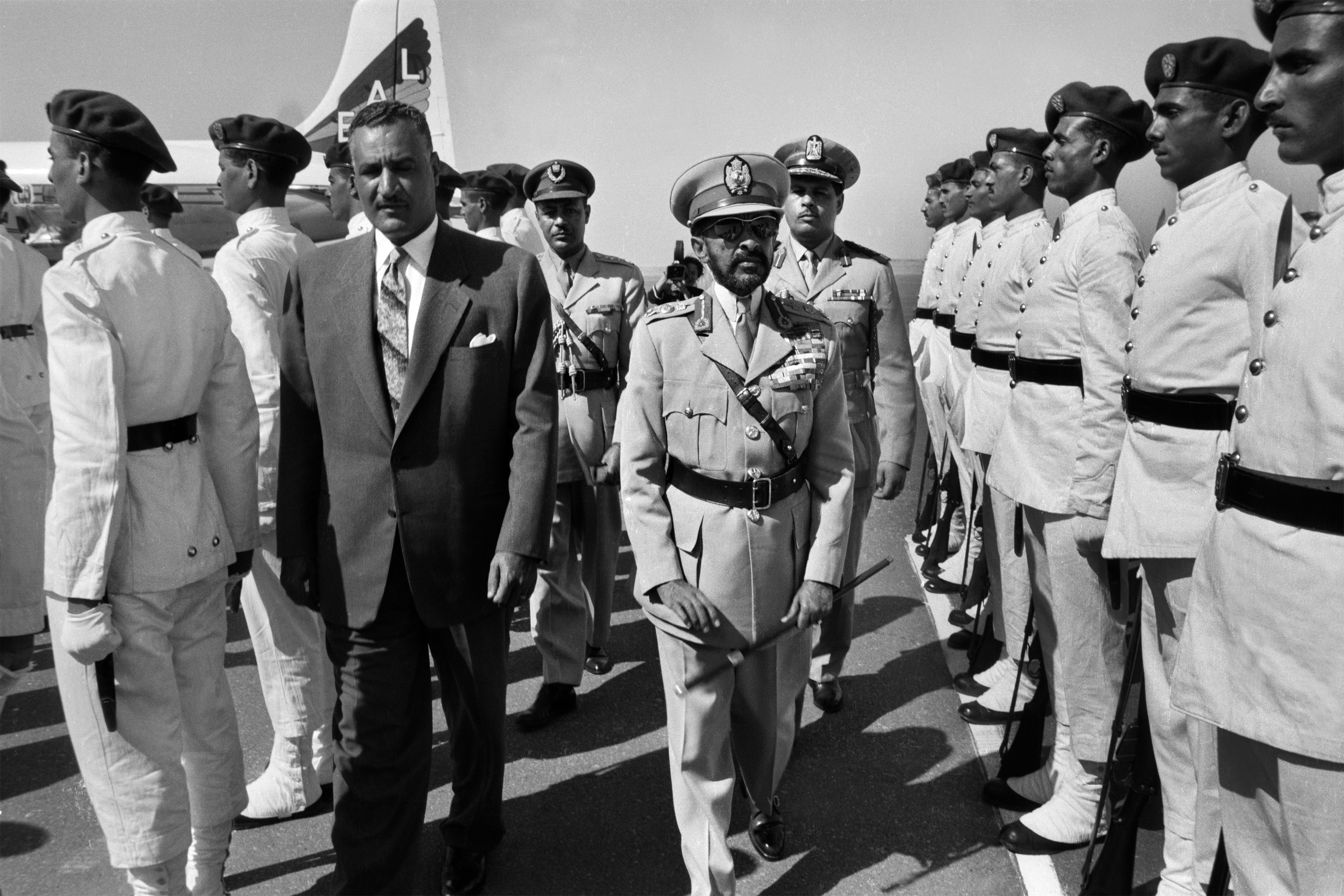 An undated photograph of Egyptian President Gamal Abdel Nasser Hussein and Haile Selassie, the last emperor of Ethiopia.