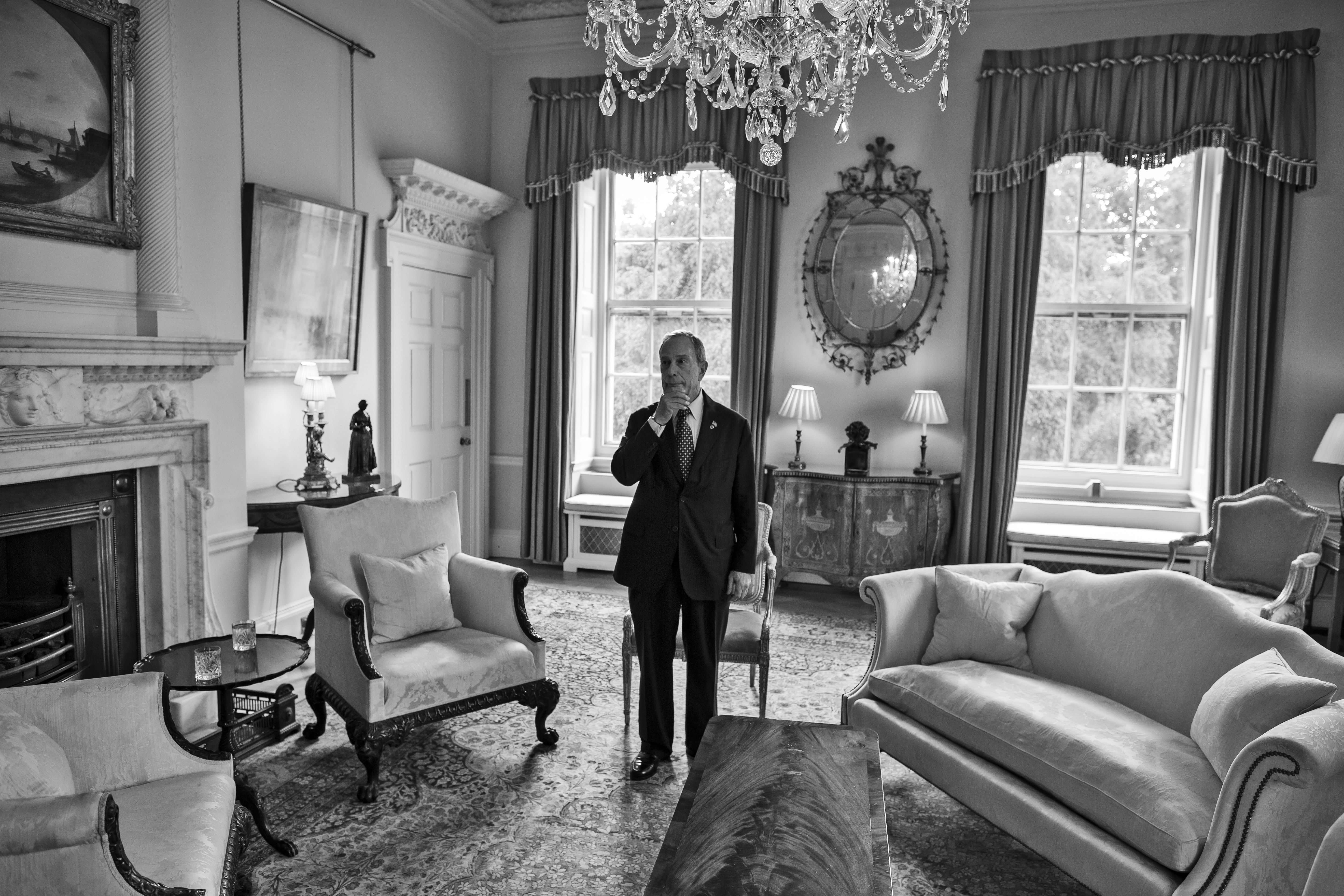 With Cameron running a few minutes late, Bloomberg is left alone to wait in one of Downing street's ornate rooms.