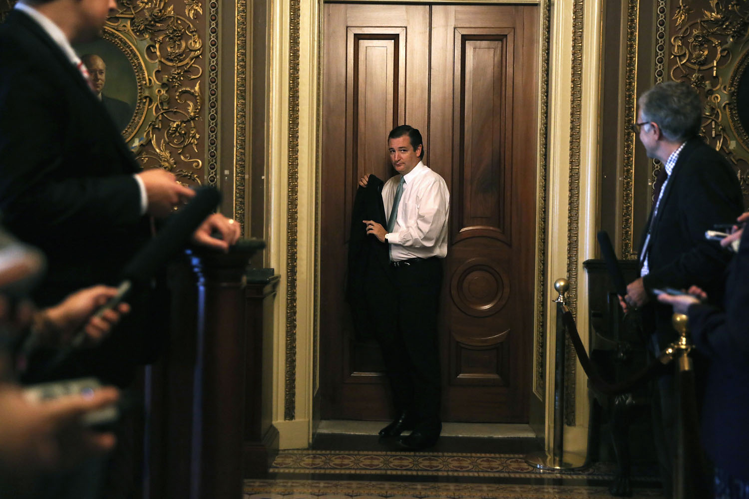 Sept. 24, 2013. U.S. Sen. Ted Cruz (R-TX) leaves after the weekly Senate Republican Policy Committee luncheon on Capitol Hill in Washington.