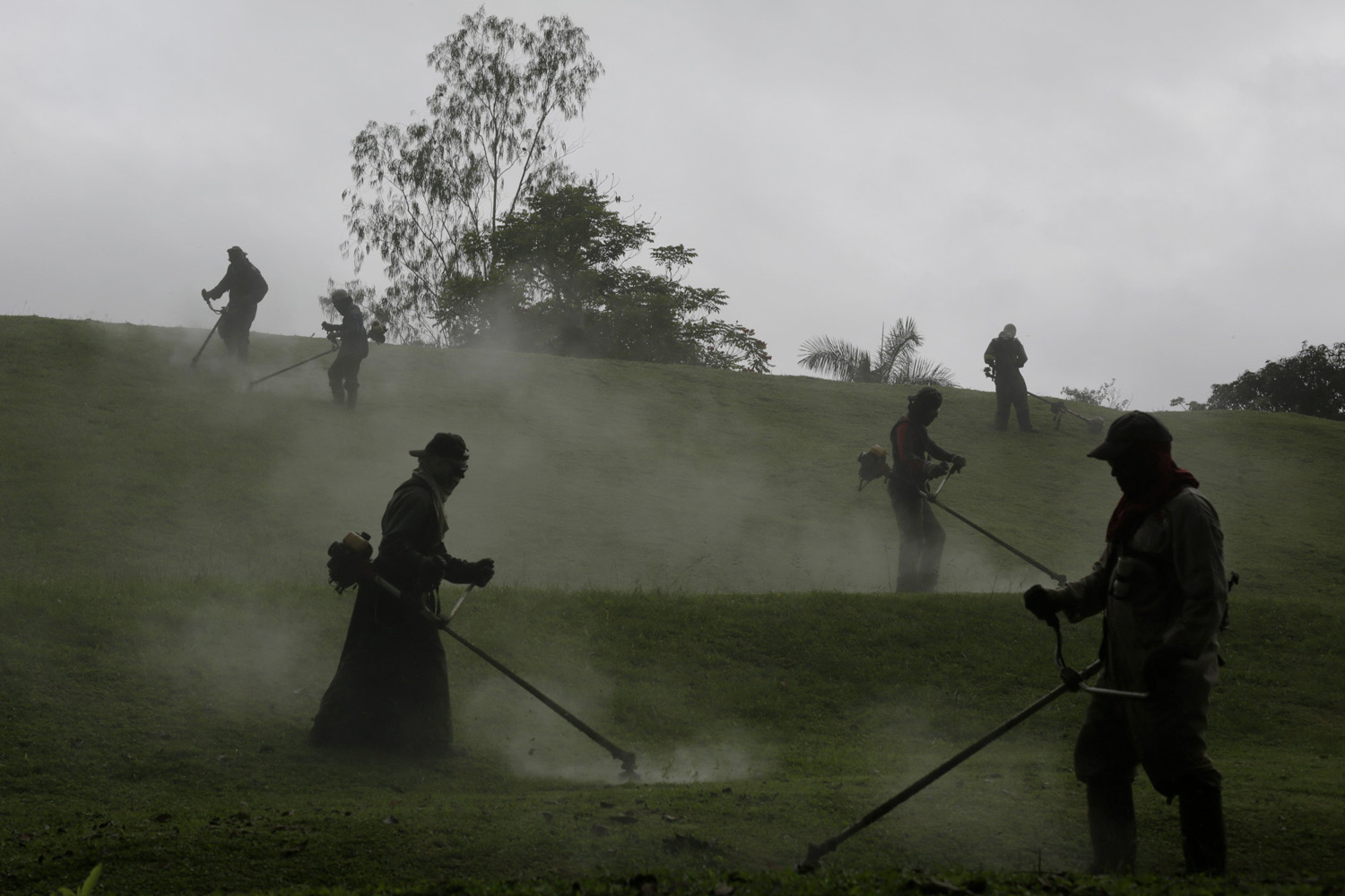 Sept. 20, 2013. Laborers cut grass in the City of Knowledge in Panama City.