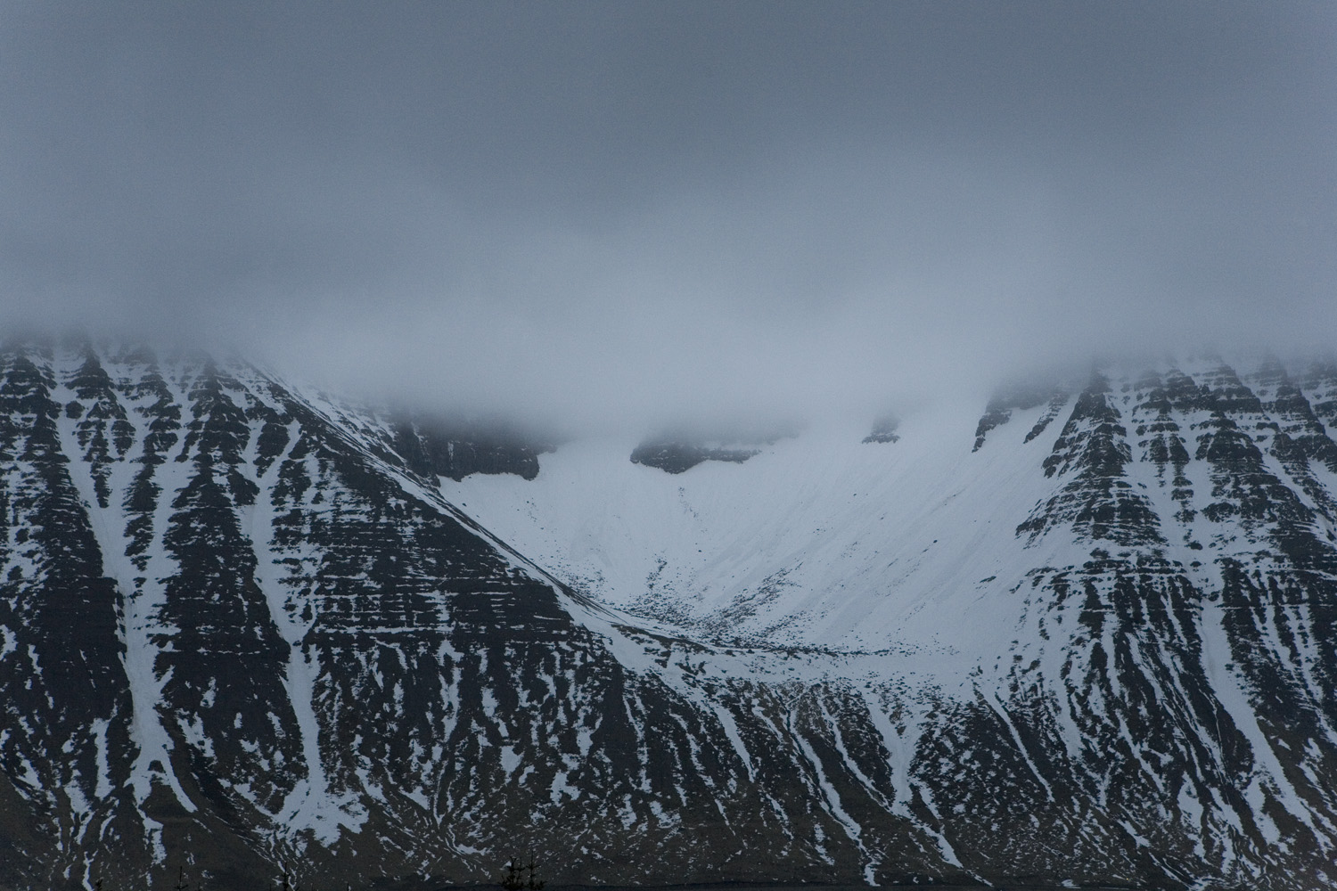 Mountains in the West Fjords, a spot with a formation known as the elf's seat. Iceland, 2011.