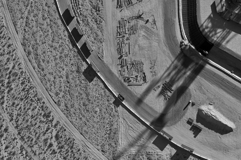 <i>Construction yard, Solar Field Two, January 2012</i>Detail of the construction yard surrounding the Power Block of Solar Field Two.