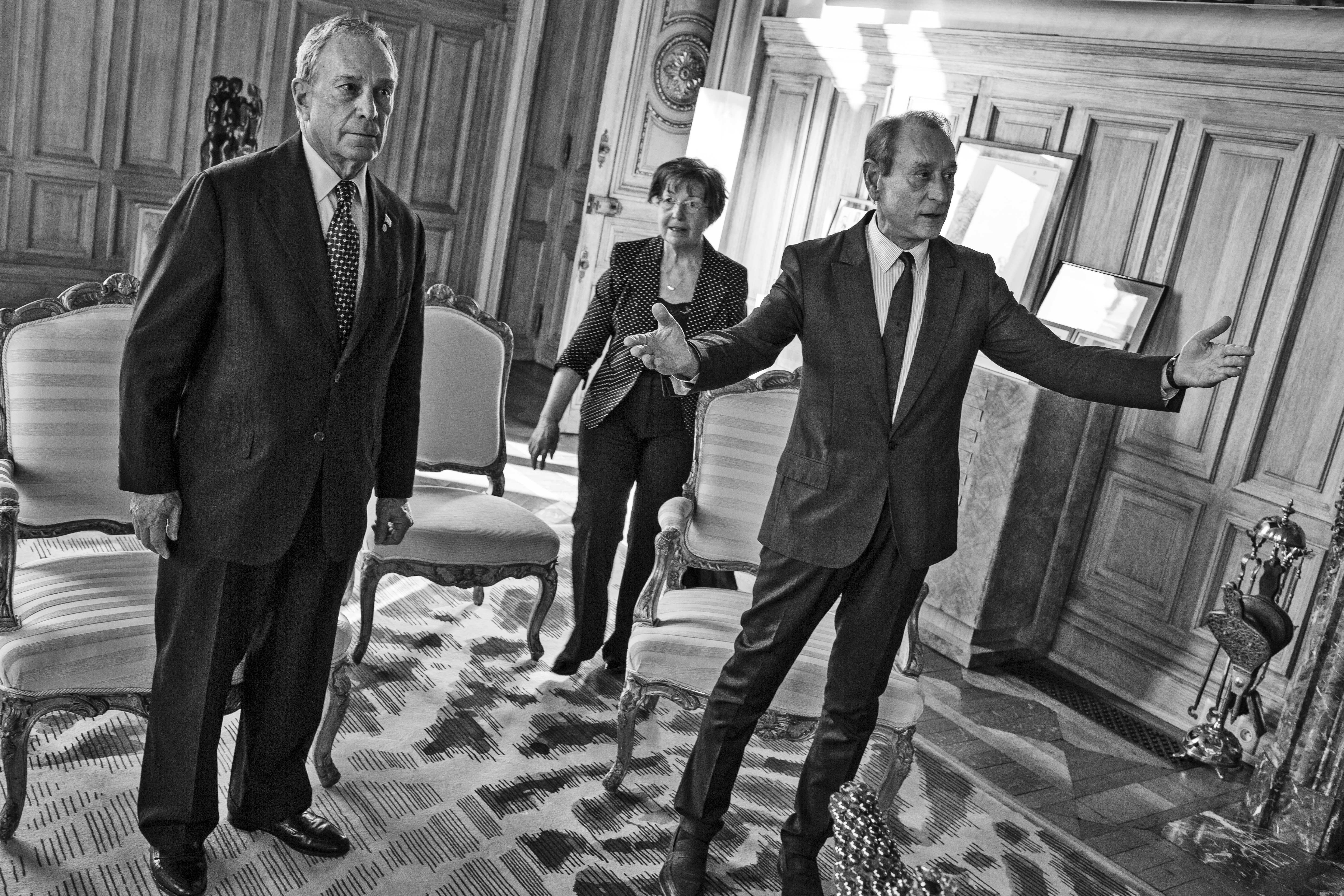 Bloomberg meets with Bertrand Delanoe, the mayor of Paris, at the mayor's office at the 'Hotel de Ville' in Paris.