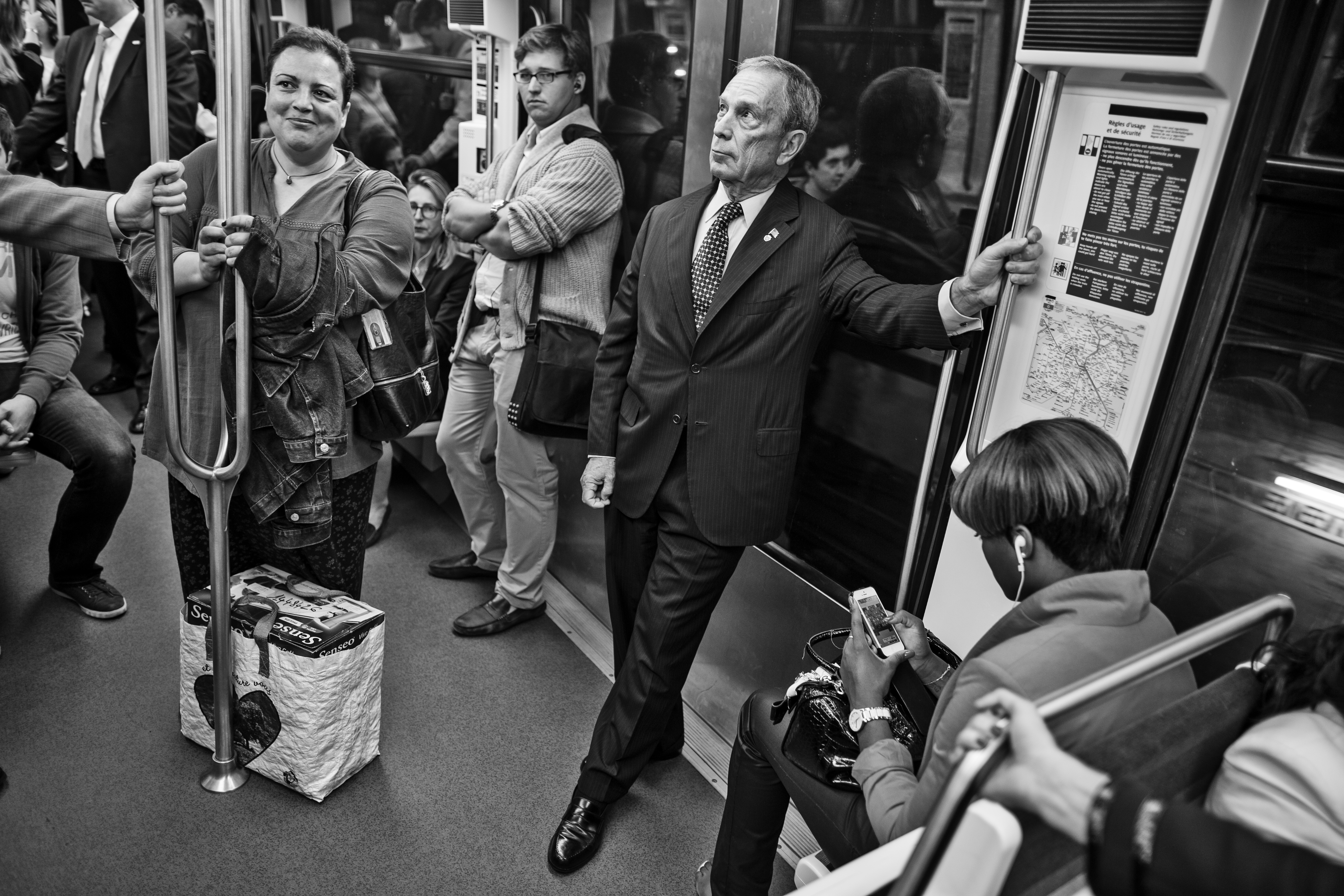 Bloomberg takes the Paris metro back to his hotel after finishing up his meetings for the day.