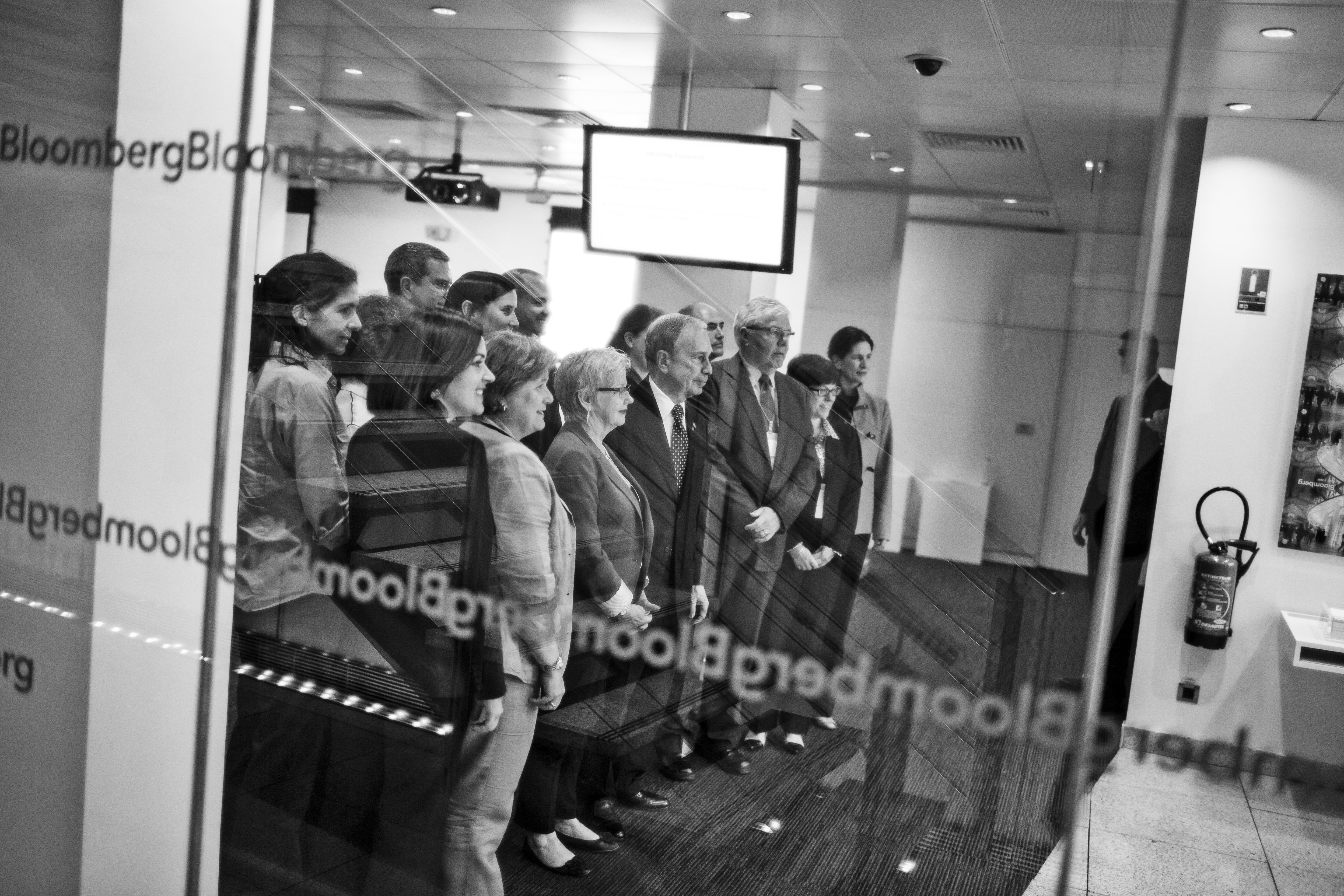 Bloomberg takes part in a meeting and listens to pitches on the 'Bloomberg Global Road Safety' program at the Bloomberg LP, Paris office.