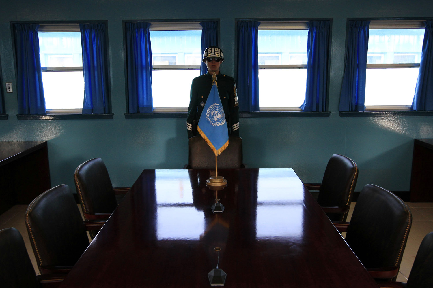 Sept. 25, 2013. A South Korean soldier stands at the Military Armistice Committee meeting room at the border village of Panmunjom, which has separated the two Koreas since the Korean War, in Paju, north of Seoul, South Korea.