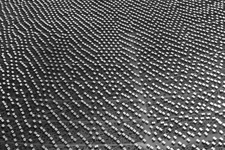 <i>Heliostats, Solar Field Two, 4 September 2013</i>                                   Heliostats form an abstact pattern in Solar Field Two.