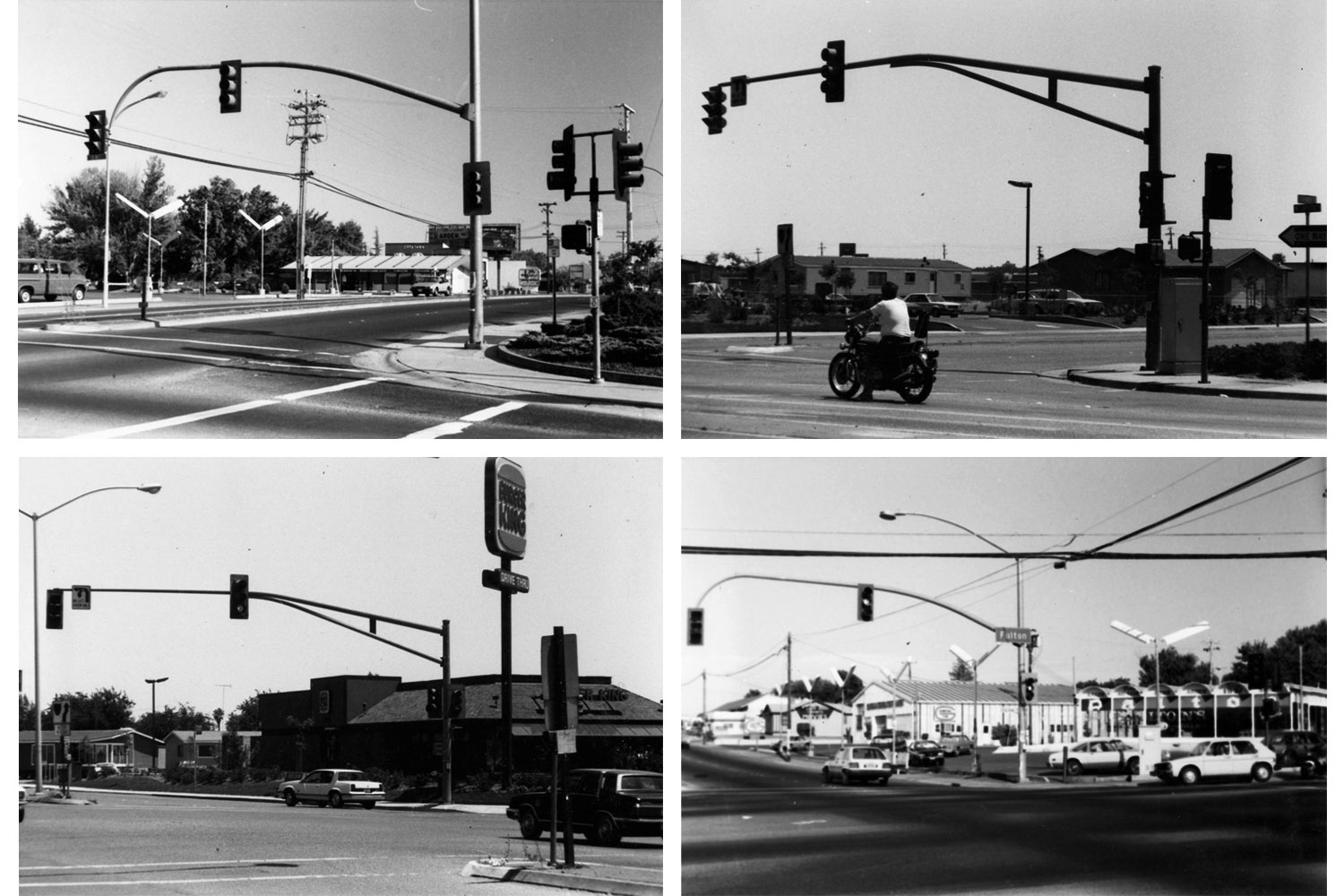 The following photographs were taken in Sacramento and Davis, Calif., circa 1988. I couldn't find any good pictures in magazines of ordinary modern street corners in America, so I persuaded this guy I knew in Sacramento — Stanley Something-or-other — to spend a day with me driving around just to take snapshots.""