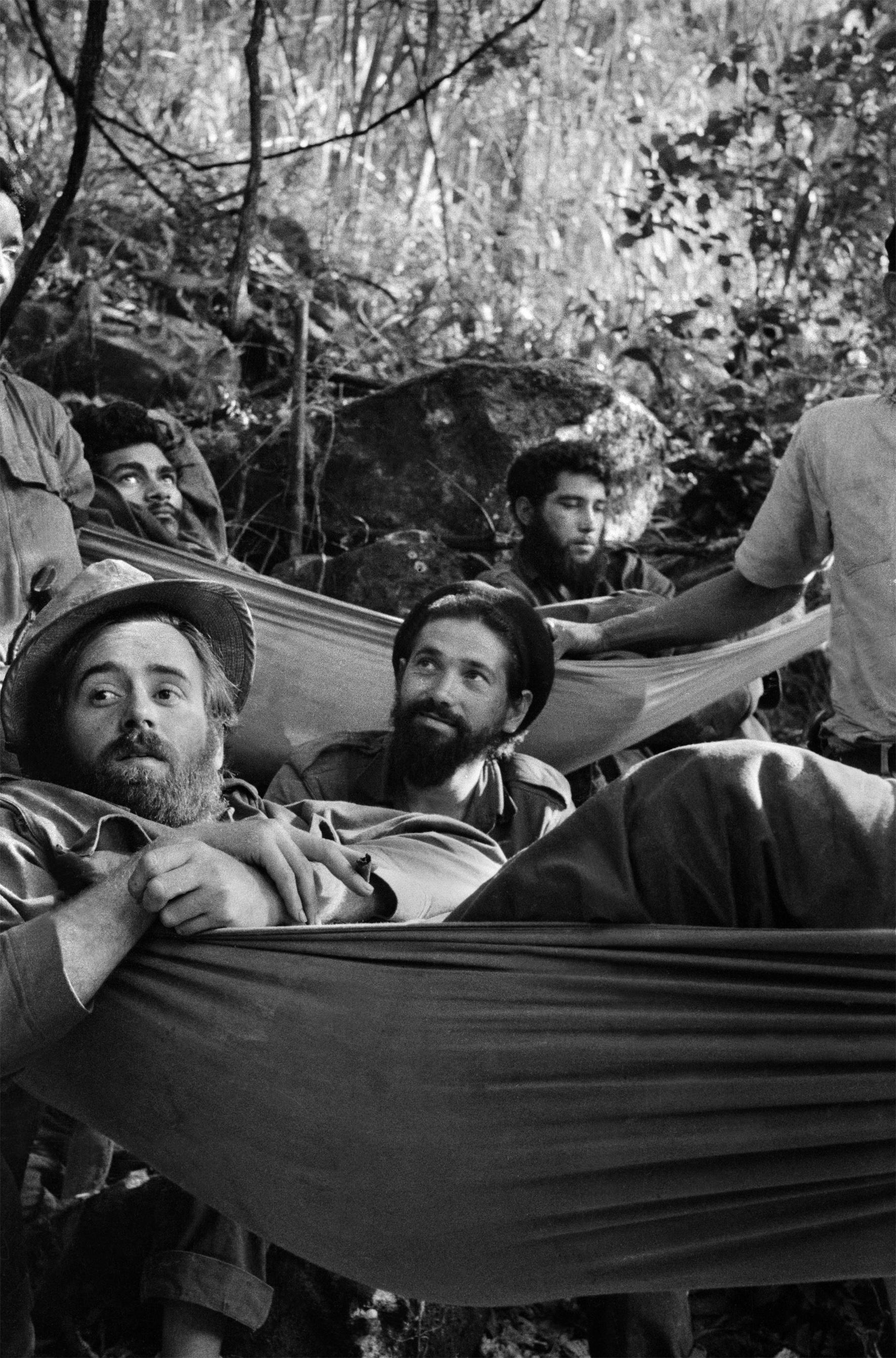 Fidel Castro's fellow rebels in the Sierra Maestra mountains, Cuba, 1958.