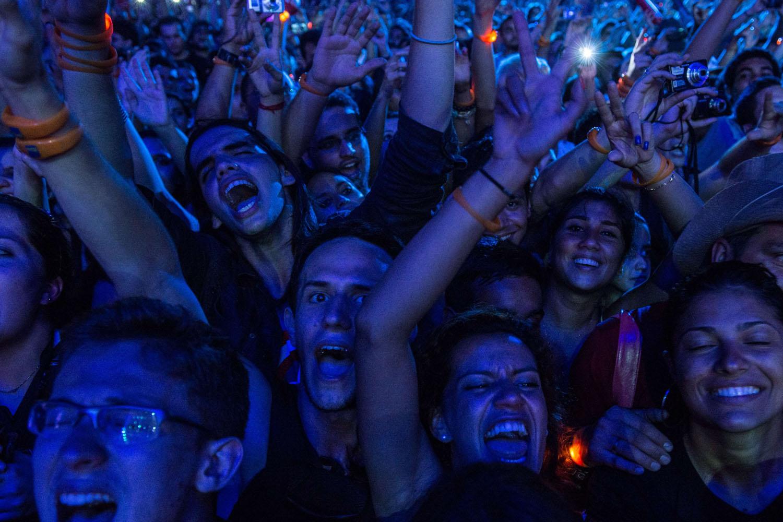 Sept. 20, 2013. Fans react as Canadian rock band Nickelback performs during the Rock in Rio music festival in Rio de Janeiro, Brazil.