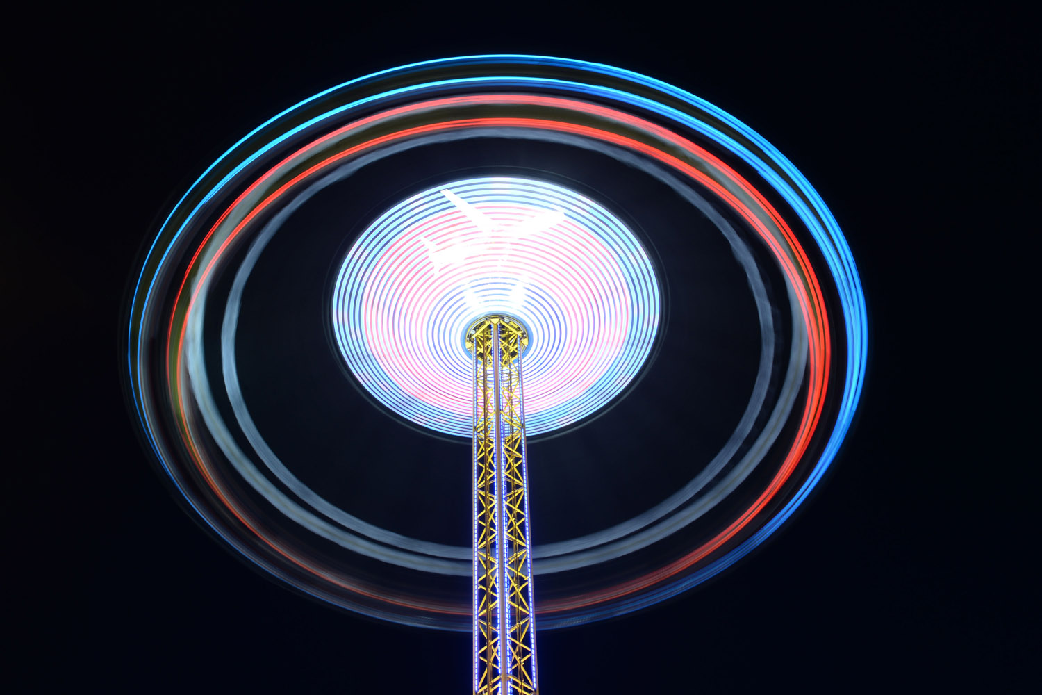 Sept. 21, 2013. Picture taken with a long exposure time shows a fun ride turning at the Oktoberfest beer festival on the Theresienwiese fair grounds in Munich, southern Germany.