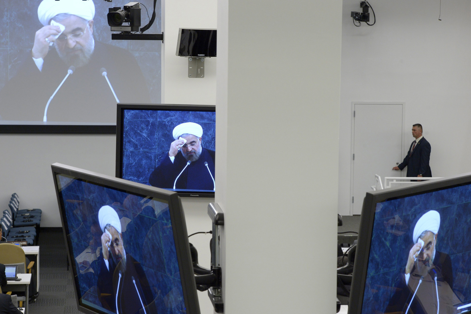 Sept, 24, 2013. Hassan Rouhani, President of Iran, is seen on screens as he speaks during the general debate of the 68th session of the United Nations General Assembly at United Nations headquarters in New York, New York, USA.