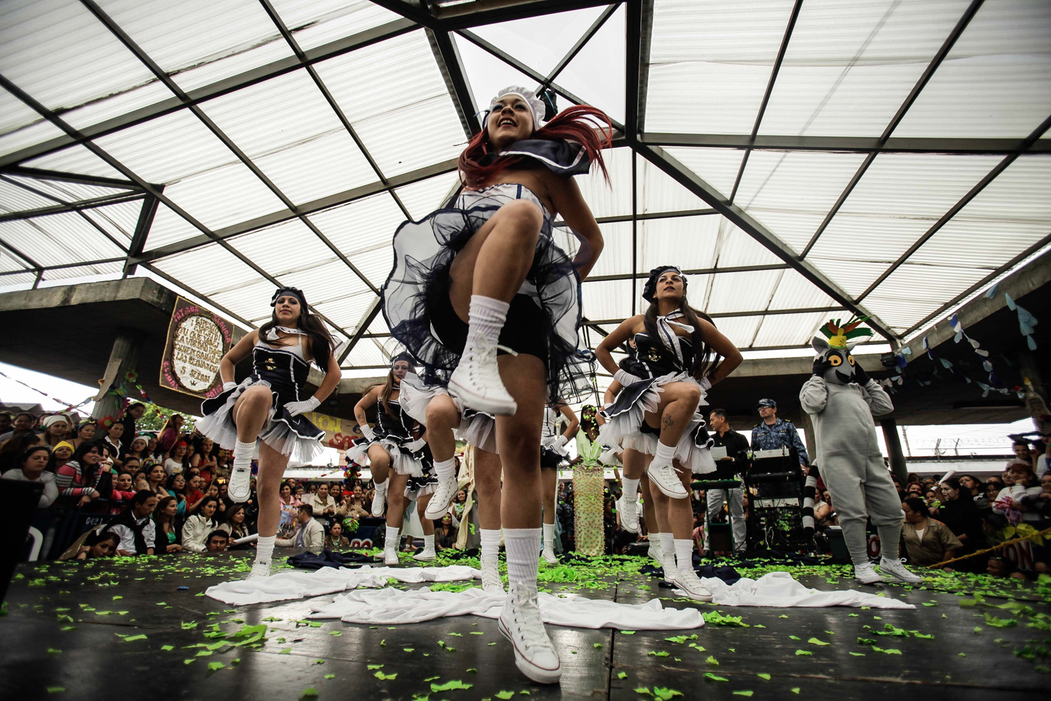 Sept. 26, 2013. Prisoners participate during the celebration of the Virgin of Mercy, in El Buen Pastor jail, in Bogota, Colombia.