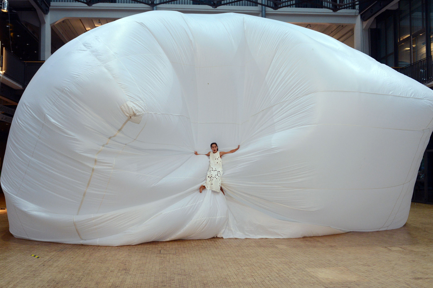 Sept. 26, 2013. A dancer perfoms the play  Wolke  (Cloud, 2002) by German choreographer Sasha Waltz as part of the exhibition 'Sasha Waltz - Installations Objects Performances' at the Center for Art and Media Technology (ZMK) in Karlsruhe, western Germany.