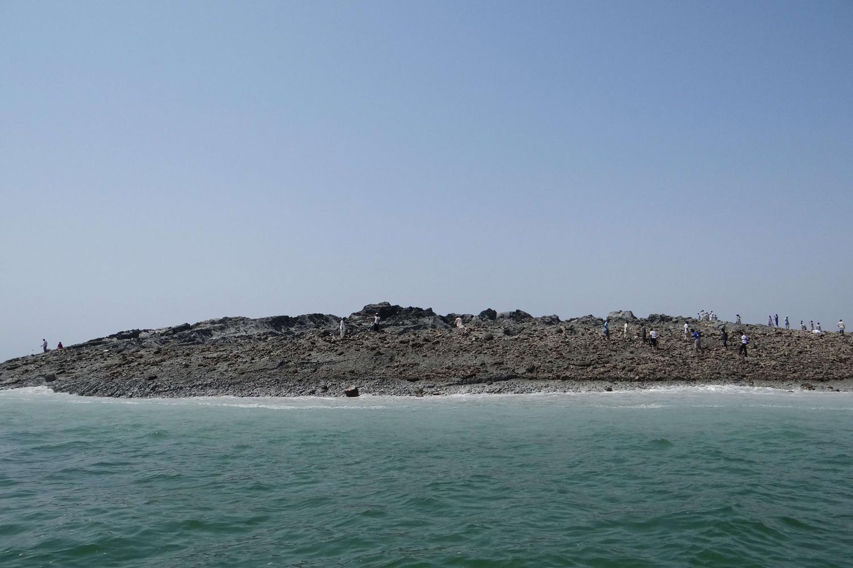 Sept. 25, 2013. An island that rose from the sea following an earthquake as seen from Pakistan's Gwadar coastline in the Arabian Sea.