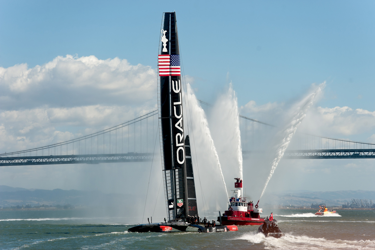 Sept. 25, 2013. A fireboat sprays water as Oracle Team USA celebrates its victory over Emirates Team New Zealand in the 34th America's Cup.