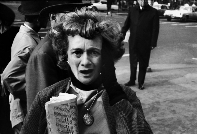 A woman in New York reacts to the news of John F. Kennedy's assassination, Nov. 22, 1963.